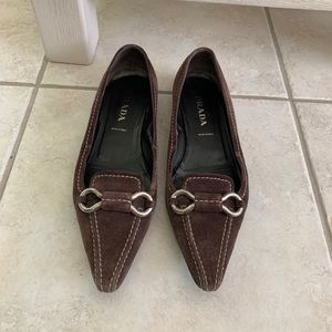 Prada brown suede flats size 36, well loved
